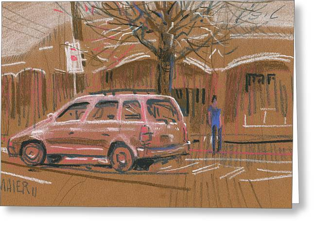 work Pastels Greeting Cards - Best Parking Spot Greeting Card by Donald Maier