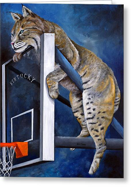 Wildcats Paintings Greeting Cards - Best Seat in the House Greeting Card by Jeff Conway