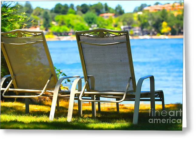 Best Seats on the Island 2 Greeting Card by Cheryl Young