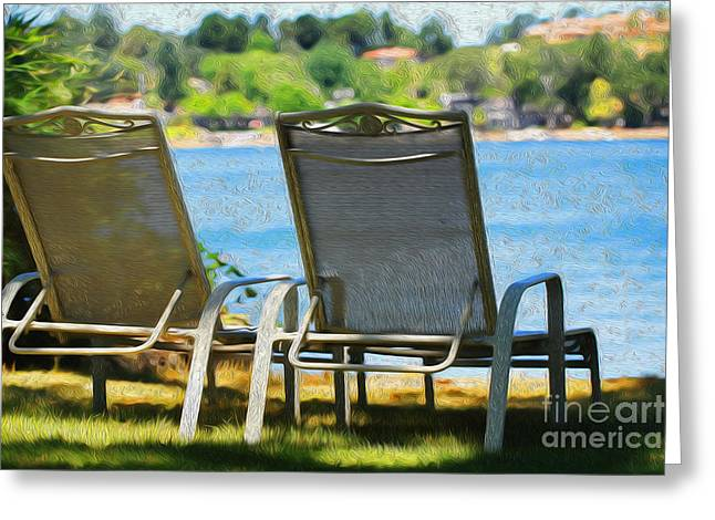 Lawn Chairs Greeting Cards - Best seats on the Island Greeting Card by Cheryl Young