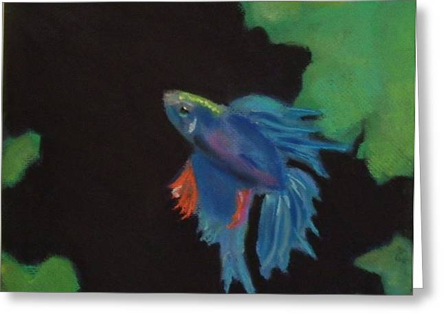 Tropical Oceans Pastels Greeting Cards - Beta Fish Greeting Card by Jen Saemann