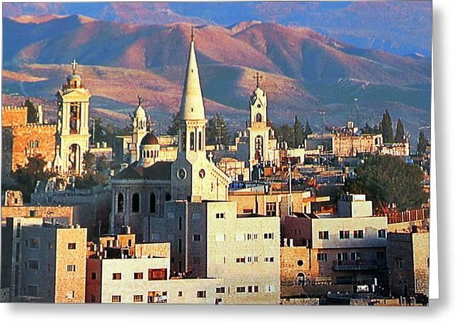 Judea Greeting Cards - Bethlehem with Judea Desert Greeting Card by Munir Alawi
