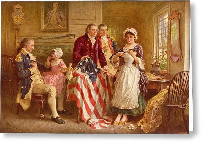 4th July Paintings Greeting Cards - Betsy Ross 1777 Greeting Card by Jean Leon Gerome Ferris