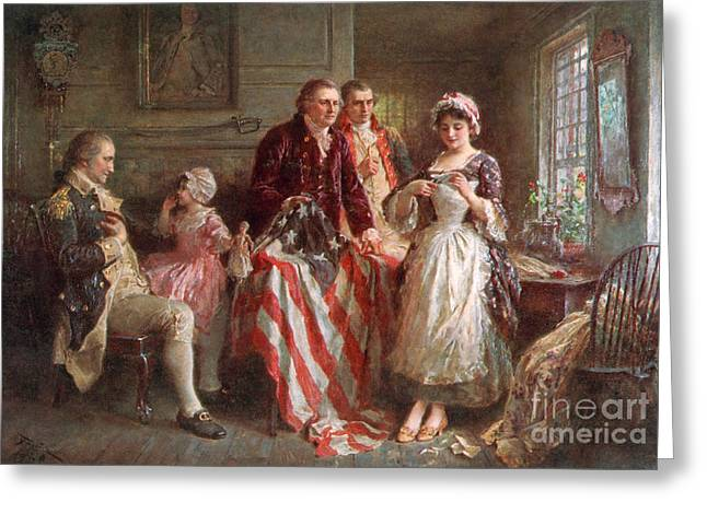 Patriot Art Prints Greeting Cards - Betsy Ross, 1777 Greeting Card by Photo Researchers
