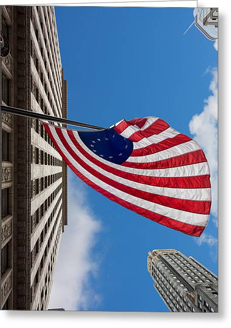 Chicago Circle Greeting Cards - Betsy Ross Flag in Chicago Greeting Card by Semmick Photo