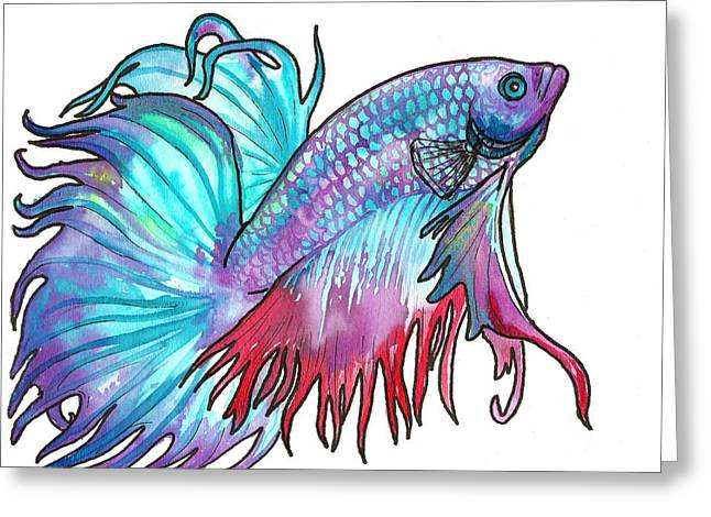 Betta Paintings Greeting Cards - Betta Fish Greeting Card by Jenn Cunningham