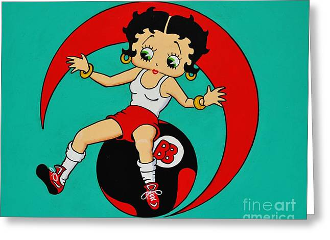 Betty Boop Greeting Cards - Betty Boop Excersizeing Greeting Card by Thomas Kolendra
