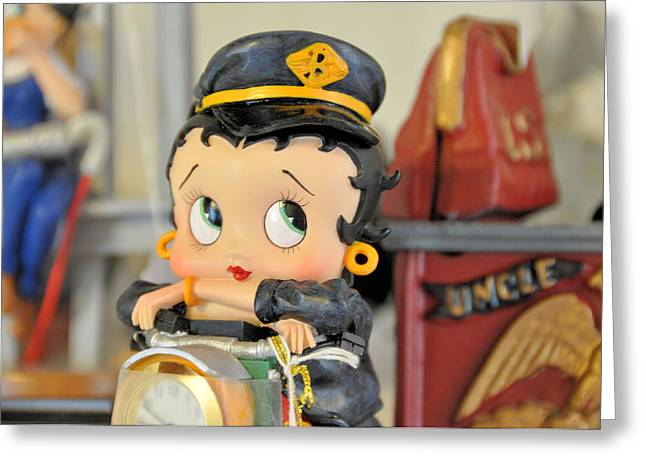 Betty Boop Greeting Cards - Betty The Biker Chick Greeting Card by Jan Amiss Photography