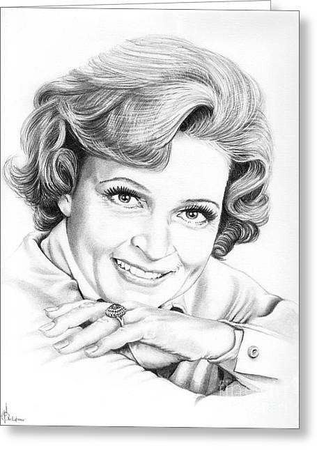 Murphy Elliott Greeting Cards - Betty White Greeting Card by Murphy Elliott