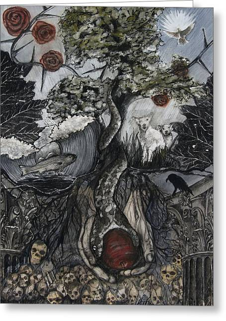 Tree Roots Drawings Greeting Cards - Between Heaven and Hell Greeting Card by Rebecca Moore
