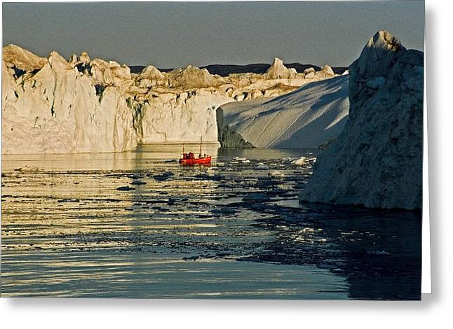 Greenland Greeting Cards - Between Icebergs - Greenland Greeting Card by Juergen Weiss