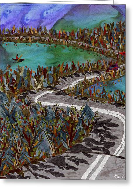 Lake Tapestries - Textiles Greeting Cards - Between Lakes Greeting Card by Marina Gershman