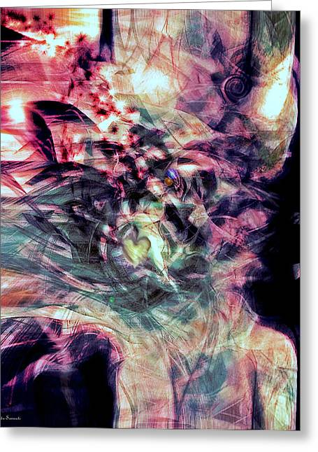 Abstract Expression Greeting Cards - Between Mind and Heart Greeting Card by Linda Sannuti