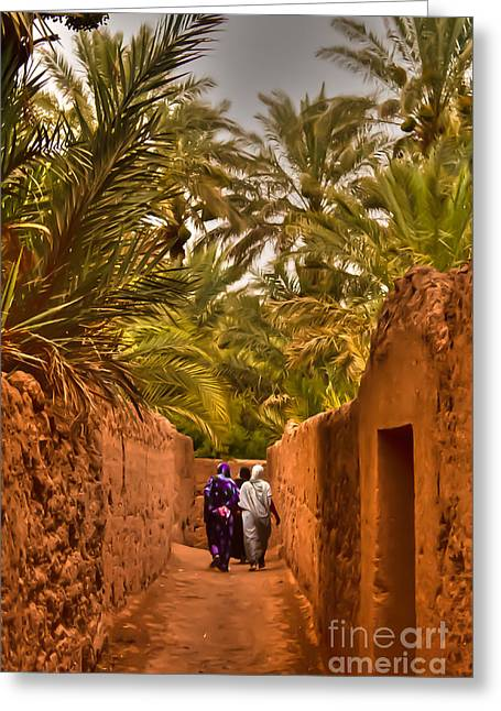 Nabucodonosor Perez Greeting Cards - Between the palm trees Greeting Card by Nabucodonosor Perez