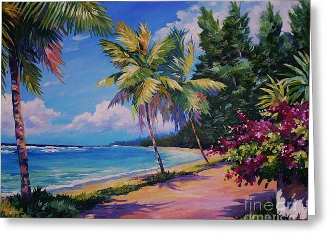 Artwork Flowers Greeting Cards - Between the Palms 20x16 Greeting Card by John Clark