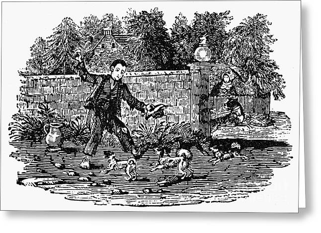 Bewick Greeting Cards - Bewick: Boy With Dogs Greeting Card by Granger