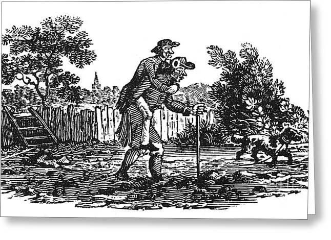 Bewick Greeting Cards - Bewick: Man Carrying Man Greeting Card by Granger