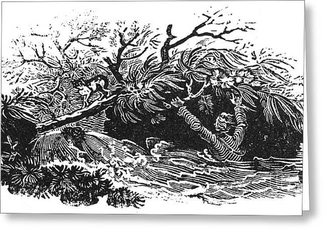Bewick Greeting Cards - Bewick: Man Drowning Greeting Card by Granger