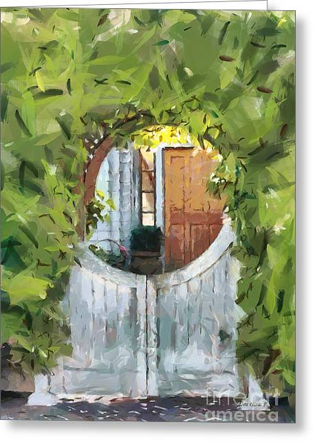 Painted Garden Gate Greeting Cards - Beyond the Gate - A Scene from Mackinac Island Michigan Greeting Card by Anne Kitzman