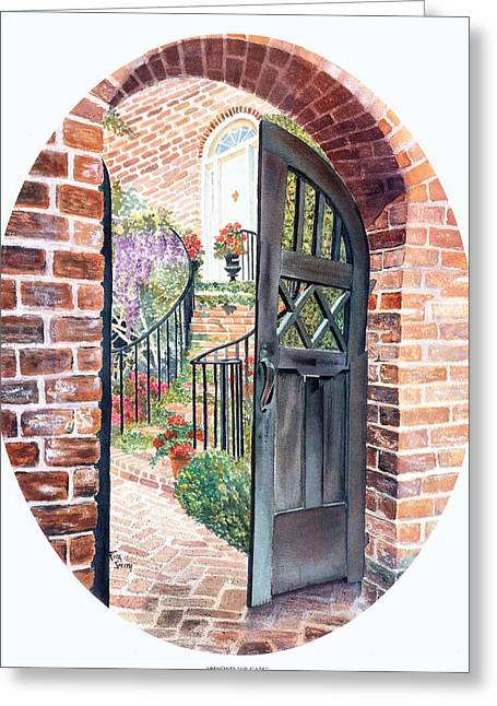House With Gate Greeting Cards - Beyond the Gate Greeting Card by Rita Smith