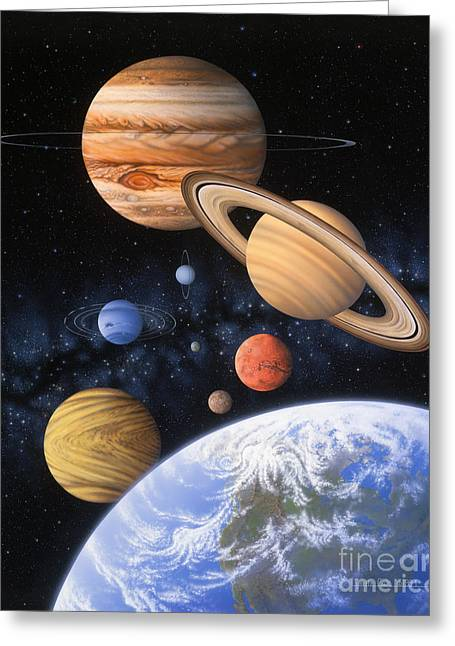 Planetary System Paintings Greeting Cards - Beyond the Home Planet Greeting Card by Lynette Cook