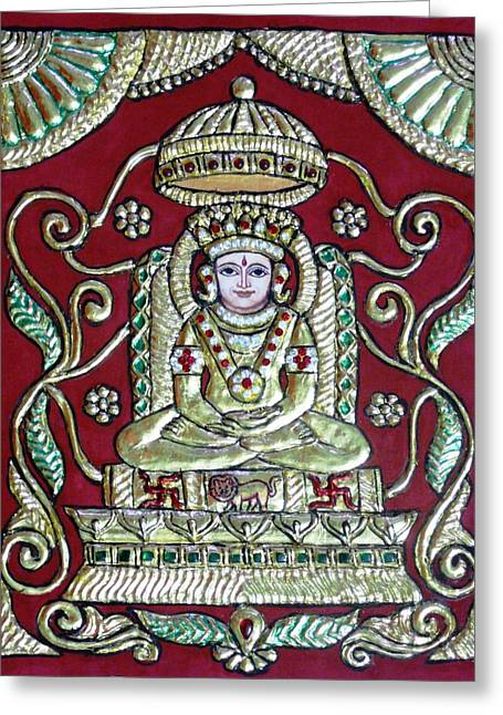 Tanjore Greeting Cards - Bhagwan Mahaveer Greeting Card by Vimala Jajoo