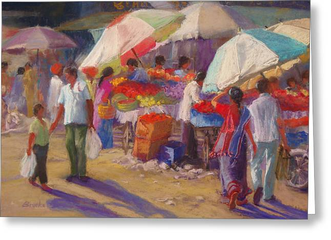 Conversations Pastels Greeting Cards - Bhuj Street Market Greeting Card by Beth Brooks