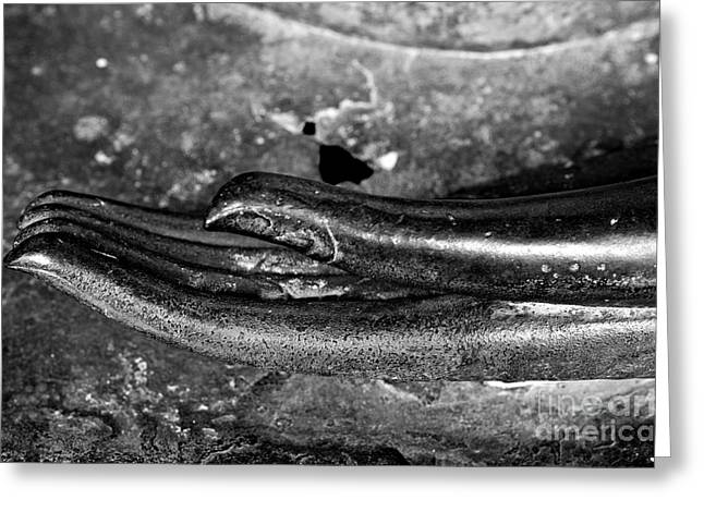 Meditative Greeting Cards - Bhumisparsa Mudra I in Black and White Greeting Card by Dean Harte