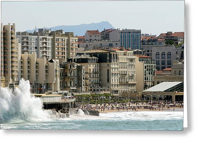 La Vague Greeting Cards - Biarritz Beach Greeting Card by Cedric Darrigrand