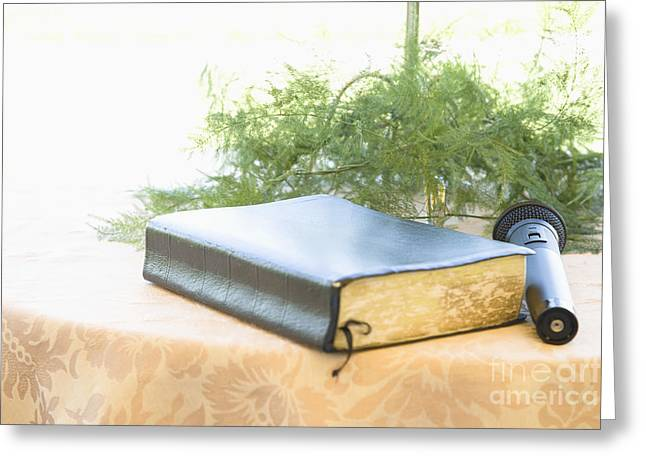 Special Occasion Greeting Cards - Bible and Microphone on Table Greeting Card by Ned Frisk