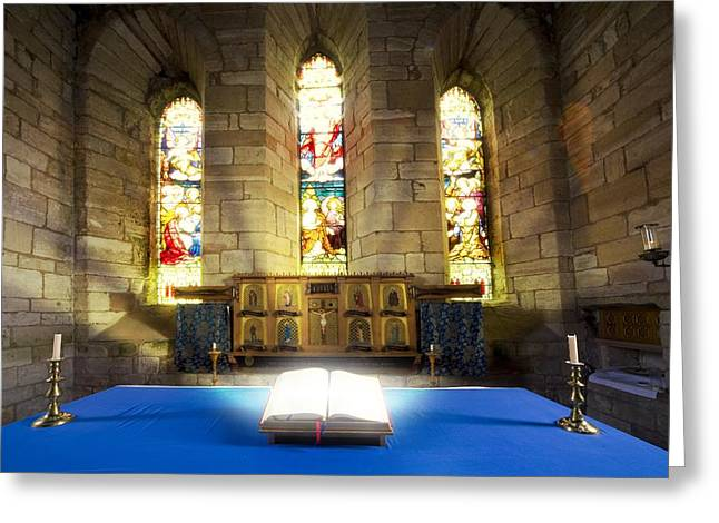 Belief Systems Greeting Cards - Bible In Church Greeting Card by John Short