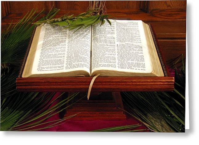Bible on Palm Sunday Greeting Card by Janice Paige Chow