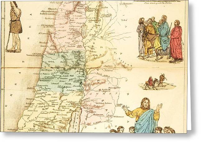 Biblical Map Palestine Greeting Card by PG REPRODUCTIONS