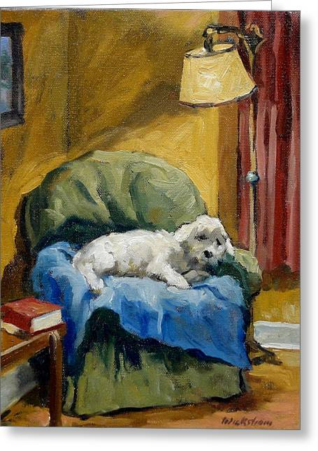 Sleepy Maltese Greeting Cards - Bichon Frise on Chair Greeting Card by Thor Wickstrom