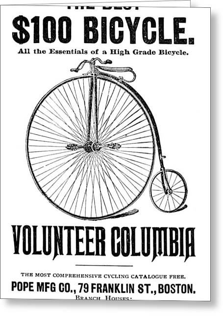 1880s Photographs Greeting Cards - Bicycle Advertisement, 1888 Greeting Card by Granger