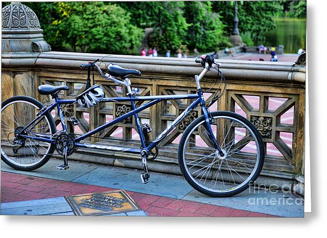 Tandem Bicycle Greeting Cards - Bicycle built for two Greeting Card by Paul Ward