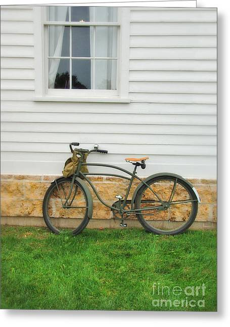 Clapboard House Greeting Cards - Bicycle by House Greeting Card by Jill Battaglia