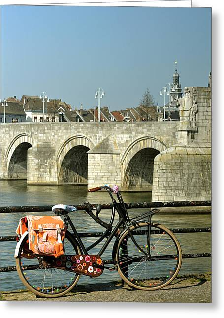 Limburg Greeting Cards - Bicycle by the Maas River in Maastricht Greeting Card by Carol Vanselow