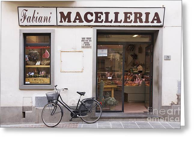 Bicycle in Front of Italian Delicatessen Greeting Card by Jeremy Woodhouse