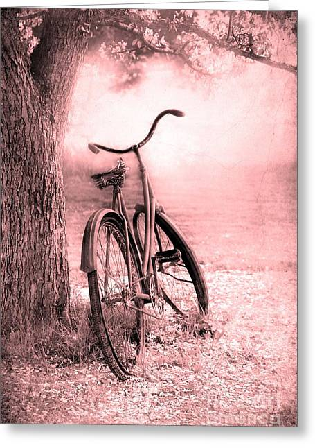 Artistic Photography Greeting Cards - Bicycle in Pink Greeting Card by Sophie Vigneault