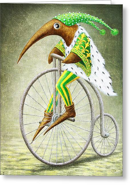 Birdman Greeting Cards - Bicycle Greeting Card by Lolita Bronzini