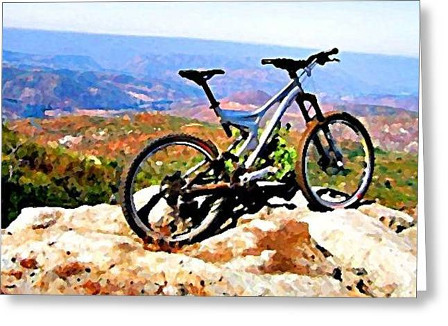 Bicycle Of Decrease In Mountains Greeting Card by Jenny Senra Pampin