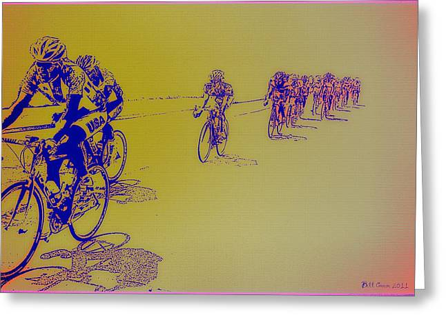 Philadelphia Digital Art Greeting Cards - Bicycle Race Greeting Card by Bill Cannon