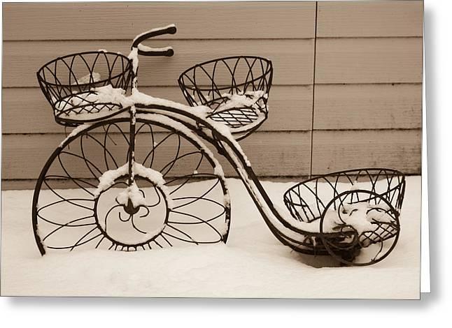 Bicycle Snowmobile Greeting Card by Douglas Barnett