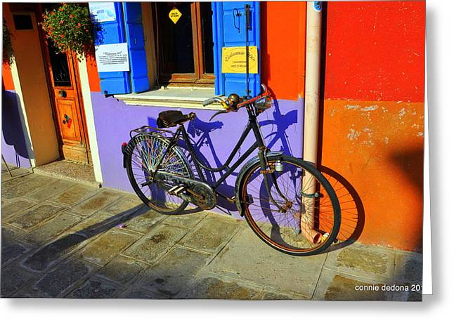 Cornelia Connie D Dedona Greeting Cards - Bicycle Stance Burano Italy Greeting Card by Cornelia Connie D DeDona