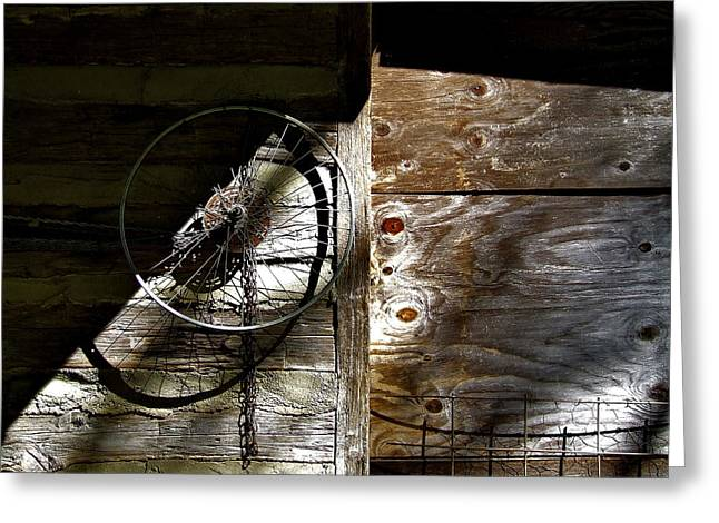 Franklin Tn Greeting Cards - Bicycle Wheel On Wall Greeting Card by Richard Gregurich