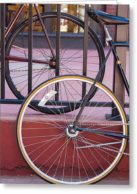 16th Street Mall Greeting Cards - Bicycle Wheels Greeting Card by Mitchell Baltuch