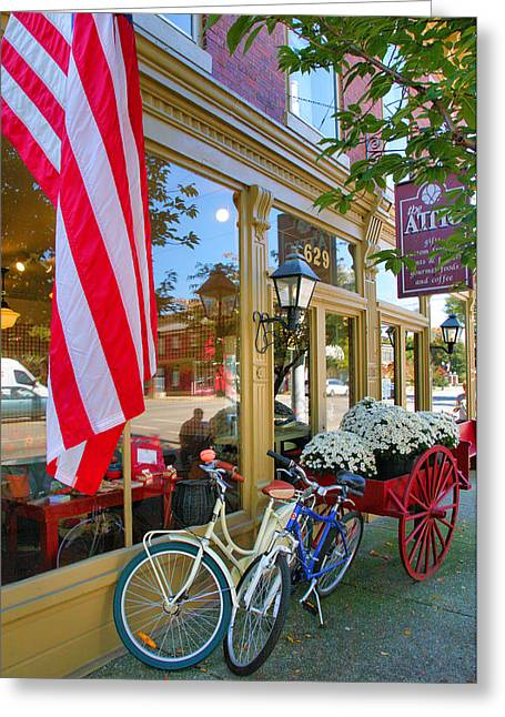 Entrance Shop Front Greeting Cards - Bicycles and Storefront Greeting Card by Steven Ainsworth