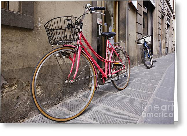 Chianti Greeting Cards - Bicycles Parked in the Street Greeting Card by Jeremy Woodhouse