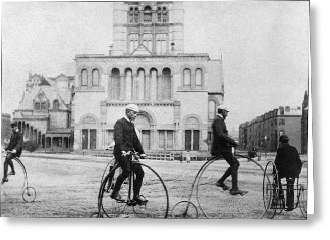1880s Photographs Greeting Cards - BICYCLING, 1880s Greeting Card by Granger